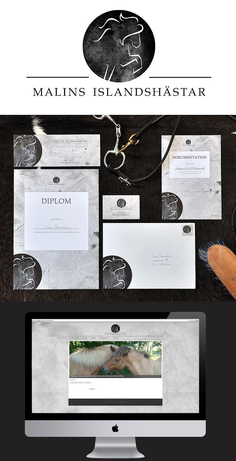 logga och grafisk profil, malins islandshästar