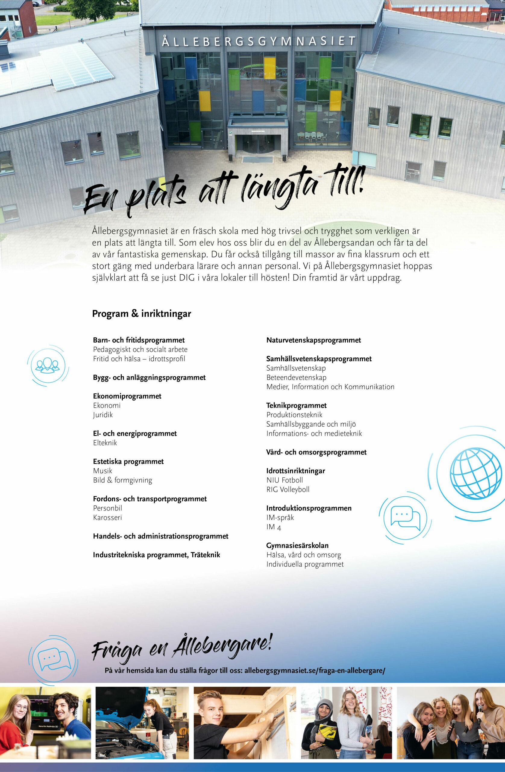 folder, trycksak, informationsmaterial, Ållebergsgymnasiet, grafisk design, Falköping