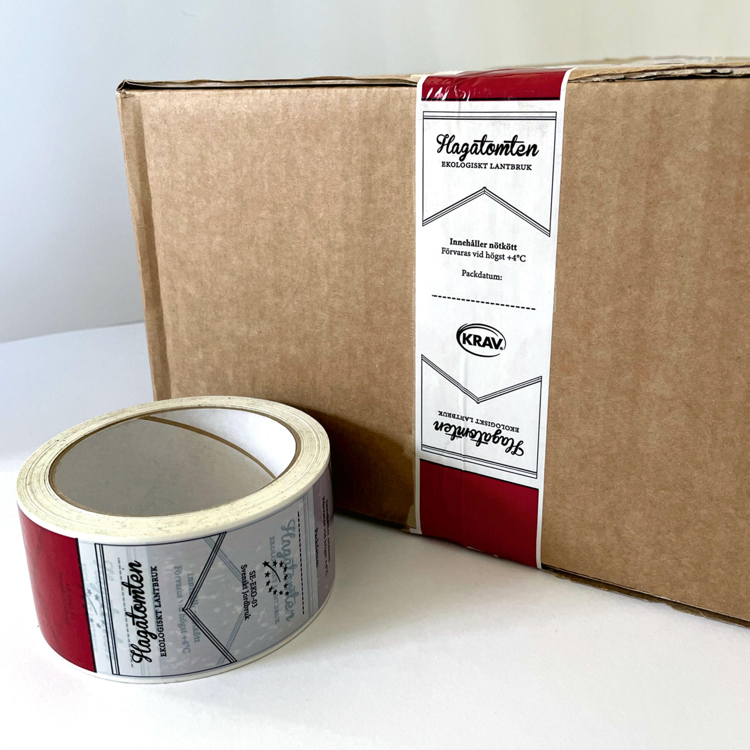 Packtejp med logotype för Hagatomtens Lantbruk, grafisk design, logotype